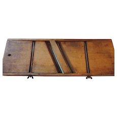 "Antique Cabbage Cutter, 2 Iron Blades, 6"" X 17 1/2"" Hardwood Frame"