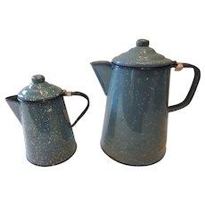 Two Blue Graniteware Coffee Pots, 1Pint, and 2Quart