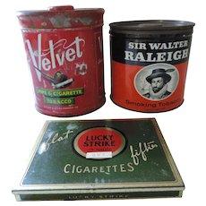 Group of 3 Tobacco Tins, Lucky Strike Green, Prince Albert, Velvet