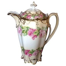 Outstanding Hand-painted MZ Austria Floral Chocolate Pot, C.1905
