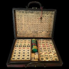 Authentic Vintage Mah-Jongg Game in Original Box with Key