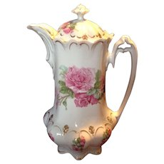 Outstanding MZ Austria Floral Chocolate Pot, c.1905