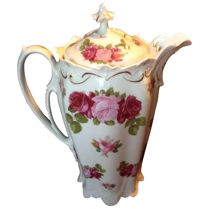 Wonderful MZ Austria Pink and Red Rose Chocolate Pot, c 1905