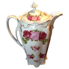 Wonderful MZ Austria Pink and Red Rose Chocolate Pot, c.1905