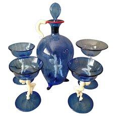 Outstanding Midnight Blue Bemini Glass Decanter Set