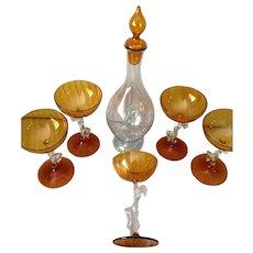 Rare Amber Colored Bemini Decanter Set