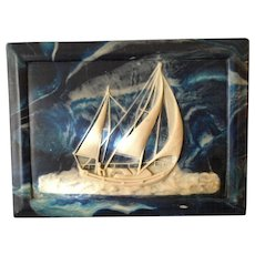 Original Vintage Incolay Stone Sailing Ship Plaque