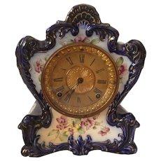 Ansonia Tamaqua Royal Bonn Porcelain Chiming Shelf Clock. Circa 1900