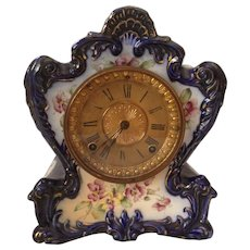 Ansonia Tamaqua Royal Bonn Porcelain Chiming Shelf Clock. Circa 1900