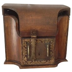 Outstanding Antique Wooden Letter Box With Unique Bentwood Lid. C-1880