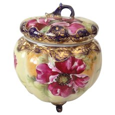 Beautiful Nippon Hand-Painted Biscuit Jar With Applied 14K Gold. C-1910