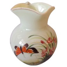 Wonderful Northwood Hand Painted Floral and Butterfly Custard Glass Pitcher. C-1900
