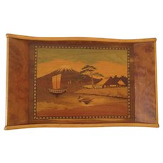 Outstanding Mid-Century Marquetry Inlay Japanese Wooden Tray.