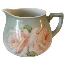 Outstanding Hand Painted German Floral Water/Cider Pitcher C-1900