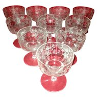10 Beautiful High End Etched Crystal Shebert Glasses. C-1940