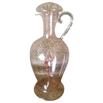 "Bimini Werkstatte Austria Lauscha Deco Art Glass ""Pink Lady"" Decanter. Probably by Fritz Lampi"