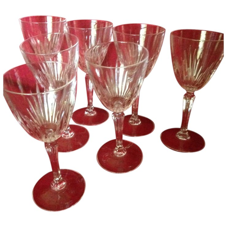 crystal stem wine glasses de provence high end cut crystal stem wine glasses c1940 gk antiques