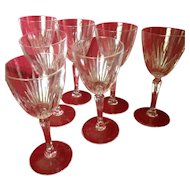 6 High End Cut Crystal Stem Wine Glasses. C-1940