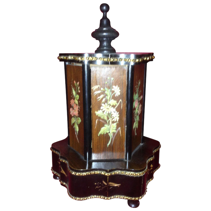 Rare and Unique Victorian Musical Cigar Caddy Carousel  C-1880