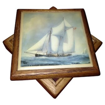 Beautiful Vintage Oak Box With Hand Painted Porcelain Tile of a Sailing Ship.