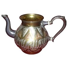 Ecptional Arts and Crafts Copper and Pewter Raised Relief Pitcher
