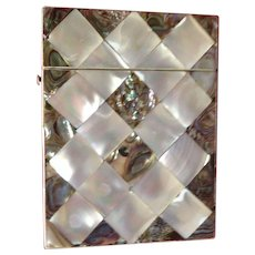 Excellent 19th Century Mother of Pearl & Abalone Calling Card Case