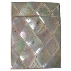 Very Nice Etched Tile Mother of Pearl Calling Card Case C-1880