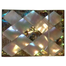 Exceptional Mother of Pearl and Abalone Calling Card Case C-1880