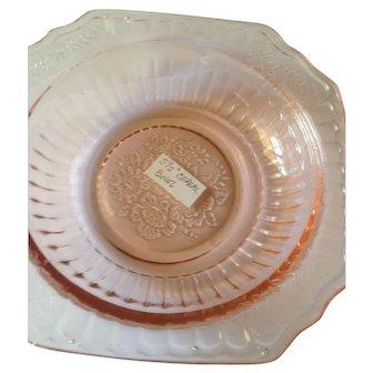 Five Pink Anchor Hocking Open Rose Depression Glass Cereal Bowls