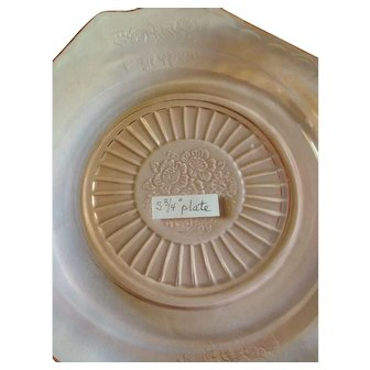 """Six Pink Anchor Hocking """"Open Rose"""" Depression Glass Plates"""
