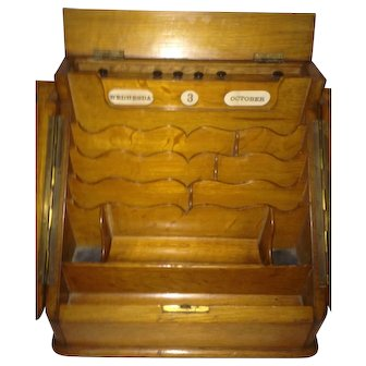 Outstanding Antique Wooden Letter Box With Daily Date Calendar C-1880