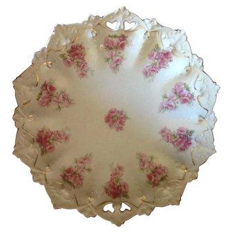 Beautiful MZ Austria Floral Cake Plate Circa 1900
