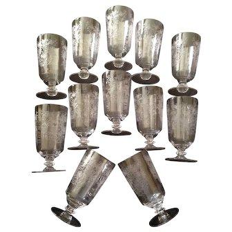 12 Vintage Fostoria Etched Floral Elegant Glass Water Glasses C-1950