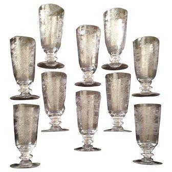 10 Fostoria Elegant Glass Etched Floral Small Glasses C-1950