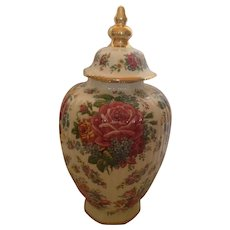 Exceptionally Beautiful Keralux Boch Freres Multi-Floral Large Lidded Vase or Urn C-1950