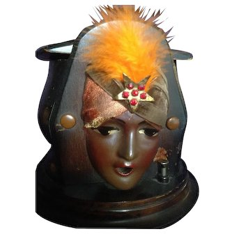 "Exceptional Kindel and Graham ""Fatima"" Gypsy Head Cigarette Dispenser C-1929"