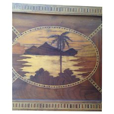Outstanding Vintage Wooden Inlaid (Marquetry) Serving Tray With Palm Tree/Ocean View C-1940