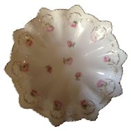 Beautiful MZ Austria Large Master Serving Bowl With Pink Roses and Scalloped Edge, C-1900