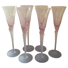 Six (6) Vintage French Pink Elegant Glass Champagne Flutes With frosted Tulip Stems. C-1950