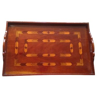 Exceptional Multi Wood Inlaid Art deco Serving Tray With Removable Glass Top. C-1935