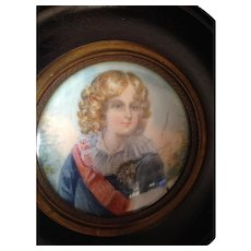 Outstanding Signed French Antique Oil on Porcelain Framed Miniature Portrait Painting