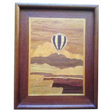 Very Cool Wooden Marquetry Inlaid Art Picture of a Hot Air Balloon Ride C-1955