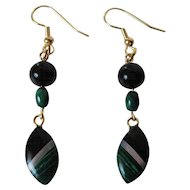 Dainty Mosaic Inlay Black Onyx, Malachite And Mother Of Pearl Dangle Earrings