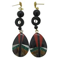 Mosaic Gemstone Inlay Dangle Earrings