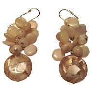 Mother Of Pearl And Golden Lip Shell With Resin Dangle Earrings