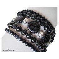 Sparkling Midnight Blue Goldstone Five Strand Bracelet