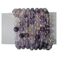Beautiful Purple Amethyst Eight Strand Cuff Bracelet
