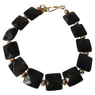 Spectacular Shimmering Green Goldstone Single Strand Bracelet