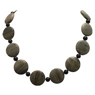 Natural Green Line Jasper And Golden Sheen Obsidian Single Strand Necklace