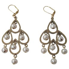 Elegant White Lotus Cultured Pearl Long Dangle Earrings